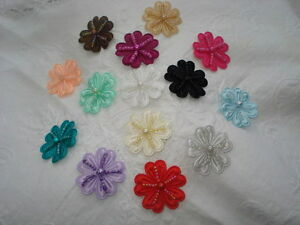 Flower Motifs, 3cm, 5 Sew-On, 14 Colours