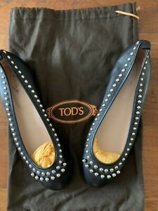 Tods Black Studded Leather Ballet Pump Shoes Size 38.5