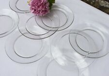 Service 8 assiettes à dessert en verre transparent Duralex France vintage 19 cm