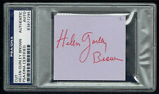 Helen Gurley Brown signed autograph Editor Cosmopolitan Business Card Psa Slab