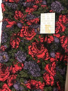 Lularoe TC Tall Curvy Leggings Purple Pink Green Large Floral Roses New Camo *