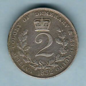 Essequibo & Demerary.  1832 2 Guilders..  aVF - Trace Lustre