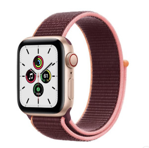 Apple Watch SE GPS Cellular 40mm Gold Aluminum Case with Plum Sport Loop Band