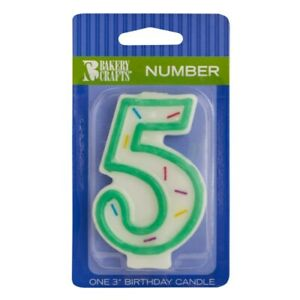 """Green Sprinkle Number Five Candle, 3.05"""" x 1.85"""" x 0.65"""""""