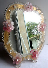 French romantic mirror, crystal opal, with pink roses, ART DECO, 1930