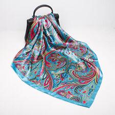 """Cuadrado de impresión azul de Paisley Bufanda para mujer moda Chal Hijab envolturas de Satén 35"""" * 35"""""""