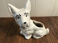 Vintage Antique WHITE Ceramic Scottie DOG Planter