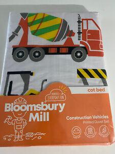 Construction Digger Vehicles Boys Bedding Duvet Cover & Pillowcase Set cot bed