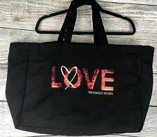 Victoria's Secret Black W/Red Sequin LOVE Large Tote Weekender Bag Canvas Cotton