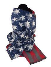 Schal Longschal USA Stars and Stripes Fransen Flaggen Look Winter Herbst Warm