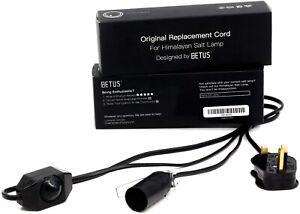 BETUS Himalayan Salt Lamp Replacement CORD UK PLUG Black ON/OFF Switch Cable