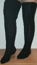Socken Handarbeit Gr.38-41 Overknee schwarz m-xl