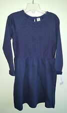 NWT Carter's Girls SIZE 8 Long Sleeve Knit Dress NAVY BLUE Lace COMFY #748517