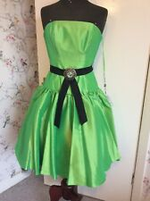 Evening Party Cocktail Green Lime Celtic Mini Dress 8 Strapless Or Shoestring