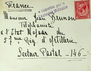 GREAT BRITAIN 1916 ONE PENNY KGV ON MILITARY CENSORED POSTCARD TO FRANCE