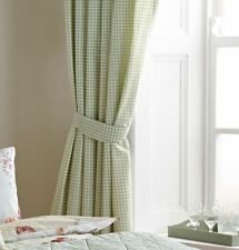 "GINGHAM CHECK GREEN WHITE LINED 66"" X 72"" - 168CM X 183CM PENCIL PLEAT CURTAINS"