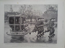 1895 PRINT THE EMPEROR OF CHINA SLEDGING ON THE LAKE IN THE PALACE GARDENS,PEKIN
