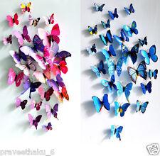 12 magnetic 3D PVC Butterflies DIY Butterfly Art Decal Home Decor Wall Stickers