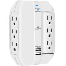 Wall Outlet, Adjustable Angle 6 Grounded Outlets with Dual USB Charging Ports
