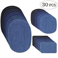 COCESA 30pcs Iron on Denim Fabric Patches Clothing Jeans Repair Kit 3 Sizes