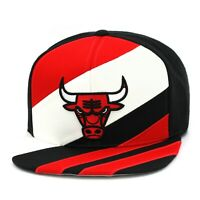 "Mitchell & Ness Chicago Bulls Snapback Hat Cap ""Stripez"" Black/Red/White"