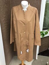 New $169 Chico's Brown Sugar Drawstring Duster Jacket Topper Sz 2 = L 12 14 NWT
