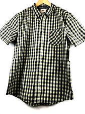 Levis Mens Medium Plaid Button Down Shirt Yellow Cotton Blend Short Sleeve NWT