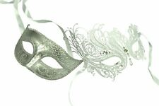 Kayso Inc. His (Silver) & Hers (White) Masquerade Couples Venetian Design Masks
