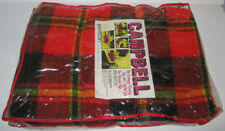 New Vintage Beacon Campbell Red Black Plaid Stadium Blanket Throw 45x72 Acrylic