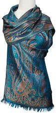 Schal Türkis Braun 100%Seide Paisley silk scarf blue foulard écharpe soie