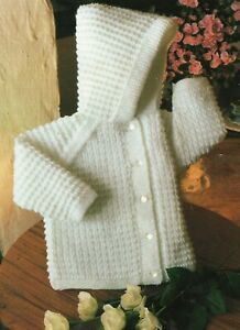 Baby DK Knitting Pattern Babies Hooded Jacket/ Cardigan  Sizes 18-22 inches #68