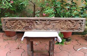 Antique Yali Wall Panel Dragon Wooden Ancient Art Sculpture Rare Vintage Panel