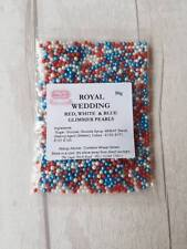 Royal wedding Glimmer Pearls 50g Red White Blue edible cake sprinkles Birthday