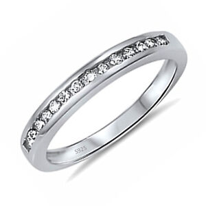 Women's Sterling Silver Wedding Engagement Eternity Ring Band Size 5 6 7 8 9 10