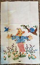 New listing Vtg Dish Kitchen Tea Towel Pure Linen Garden Scare Crow A Foard Print Halloween