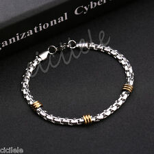 Punk Silver Tone Stainless Steel Men's Chain Link Bracelet Wristband Cuff Bangle