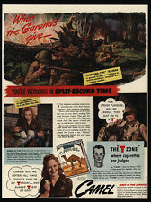 1942 CAMEL Cigarettes - WWII M-1 Garand Rifle - Gun  Commando Soldier VINTAGE AD