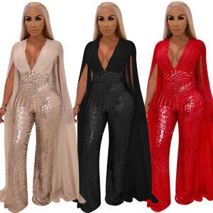 Women Backless Plunge V Tassel Formal Evening Party Jumpsuit Trousers Sequins