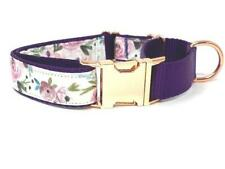 Purple, Martingale Dog Collar, W Rose Gold Buckle, Lavender, Lilac, Floral, For