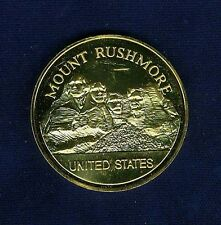 "U.S. ""MOUNT RUSHMORE""  MEDAL / TOKEN, STERLING SILVER WITH 24K GOLD PLATING!"