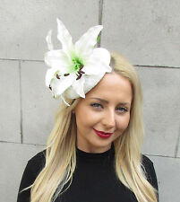 Large Ivory White Lily Flower Hat Races Fascinator Rockabilly Statement Big 1607
