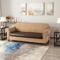 3-Seat Sofa Covers PU Leather Couch Cover Seat Slip Protector Stretchy Cushion