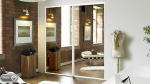 2 Sliding Mirror Wardrobe Doors - Made to Measure - Pre-assembled with tracks