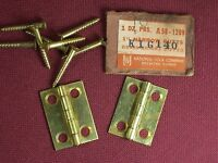 "2 Vintage National USA Jewelry Box Solid Brass Hinges and Screws 1"" x 3/4"""