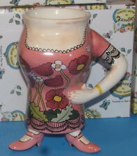 Pink with Flowers Dress 3 footed Lady Mug  Blue Sky  New