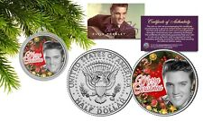 ELVIS PRESLEY JFK Half Dollar Coin w/ Christmas Tree Ornament Capsule Vintage BW