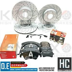 FOR AUDI A4 ALLROAD B8 FRONT REAR DRILLED BRAKE DISCS BREMBO PADS WIRE SENSORS