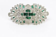 Coro Duette 1940's Green Crystal Clips Brooch