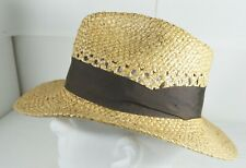 Indiana Jones Straw Fedora Woven Hat Mens Medium With Band Made in USA