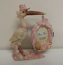 Ceramic Stork Carrying Baby Girl Bundle Shower Photo Picture Frame Decor Gift